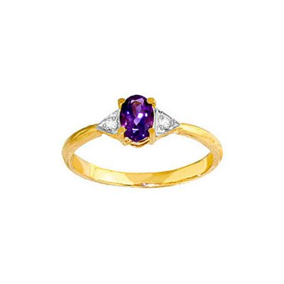 QP Jewellers Diamond & Amethyst Allure Ring in 14K Gold - Size W 1/2