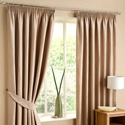 Homescapes Sand Lined Curtain Pair Swirl Design 46x90