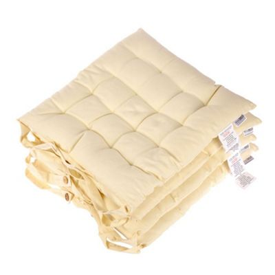Homescapes Set of 4 Cotton Plain Cream Seat Pads with Button Straps