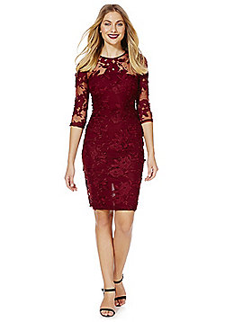 AX Paris Embroidered Floral and Mesh Dress - Burgundy