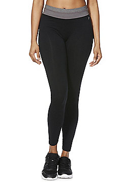 F&F Active Contrast Waistband Leggings - Black