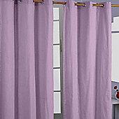 Homescapes Cotton Plain Mauve Ready Made Eyelet Curtain Pair, 137 x 182 cm