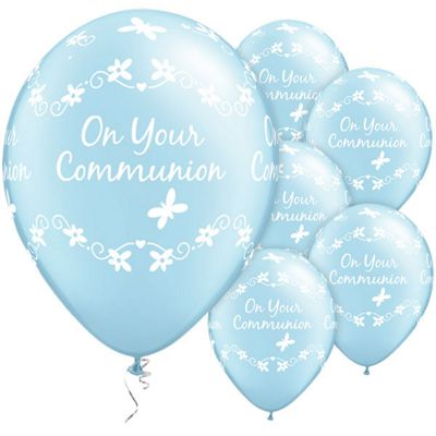 Communion Butterflies Blue 11 inch Latex Balloons - 6 Pack