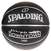 SPALDING NBA Downtown Rubber Outdoor Basketball Size 7, Black