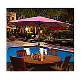 Outsunny 2.7m Garden Umbrella Outdoor Parasol with Hand Crank w/ 24 LEDs Lights (Wine Red)