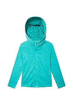 Zakti Girls Cotton Blend Kids Revive Full-Zip Isocool Hoodie in Slim Fit - Blue