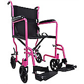 Aidapt Steel Compact Transport Wheelchair in Pink