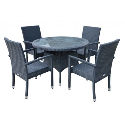 Rio (Armed) 4 Chairs And Small Round Dining Table Set in Black