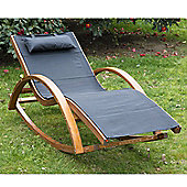Outsunny Outdoor Rocking Chair Recliner Pine Wood with Black Cushion