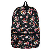 Faded Floral Graphic Black Backpack
