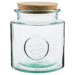Recycled Glass Storage Jar With Cork Lid Medium