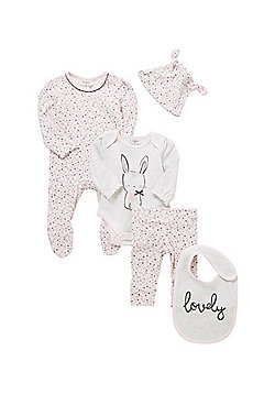 F&F 5 Piece Bunny and Heart Print Baby Set - Pink