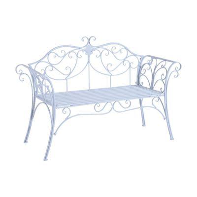 Outsunny 2 Seater Garden Bench Antique Backyard Decorative Cast Iron Backrest - White