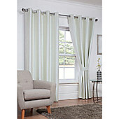 Hamilton McBride Faux Silk Eyelet Blackout Cream Curtains - 90x90 Inches (229x229cm)