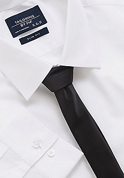 F&F Slim Fit Long Sleeve Shirt with Tie - White