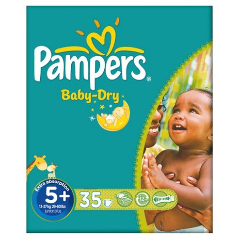 Pampers Baby Dry Size 5+ Essential Pack - 35 nappies