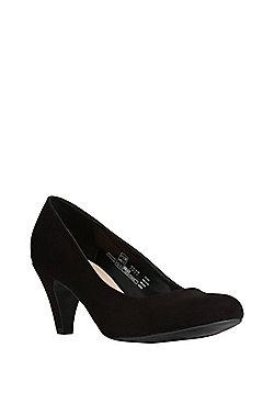 F&F Sensitive Sole Faux Suede Mid Heel Court Shoes - Black