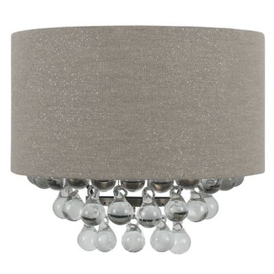 Grey Glitter Shade with Glass Beads Wall Light
