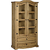 Corona 2 Door 2 Drawer Glass Display Unit Distressed Waxed Pine/Clear Glass