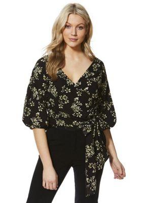 AX Paris Floral Print Wrap Top Black Multi 14