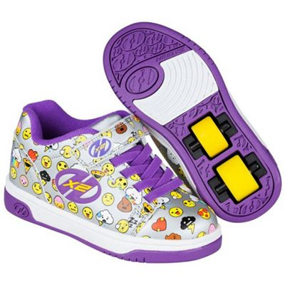 Heelys Dual Up Silver/Purple/Emoji Kids Heely Shoe JNR 13