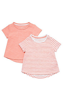 F&F 2 Pack of Striped and Plain T-Shirts - Neon Pink
