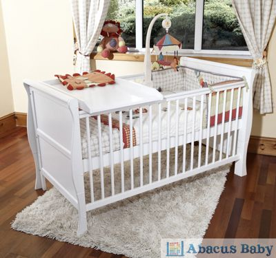Scarlett Sleigh Cot Bed/Toddler Bed & Pocket Sprung Mattress - Changer - White
