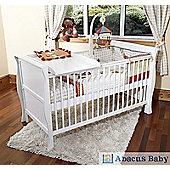 Scarlett Sleigh Cot Bed/Toddler Bed & Pocket Sprung Mattress - Changer - White