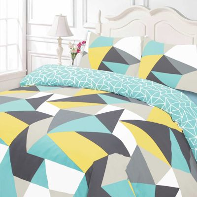Duvet Cover Pillow Case Bedding Set, Geometric Shapes Blue Yellow - King