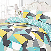 Duvet Cover with Pillow Case Set, Geometric Shapes Blue White - Yellow