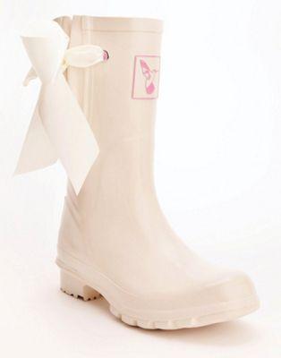 Evercreatures Ladies Bridal Wedding Calf Rubber Wellies in Cream - Size 6 (UK)
