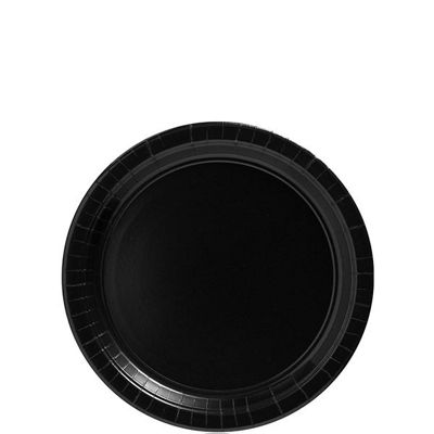 Jet Black Party Paper Dessert Plates 17cm - 8 Pack