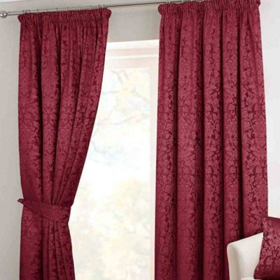 Homescapes Wine Velvet Jacquard Pencil Pleat Lined Curtain Pair, 90 x 90