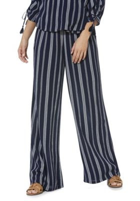F&F Rope Stripe Palazzo Trousers Navy 12