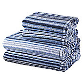 100% Cotton 2 Hand 2 Bath Towel Bale - Blue Stripe