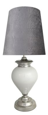 Pure White Pearl Regency Statement Lamp With Grey Crocodile Shade