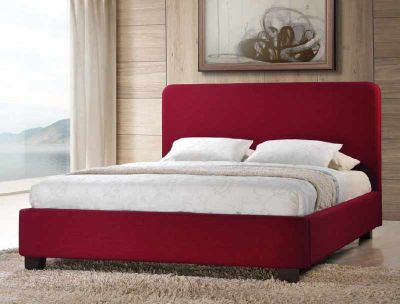 Contemporary Style Red Fabric Bed Frame - Small Double 4ft