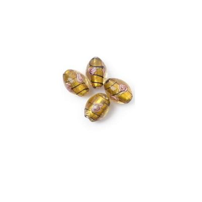 Craft Factory Glass Rose Barrel pk4 13mm Gold and Brown