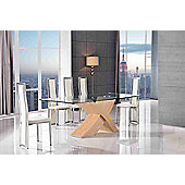 Valencia Glass & Oak 200 cm Dining Table with 6 Ivory Elsa Chairs