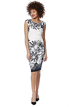 Roman Originals Floral Lace Pencil Dress - Black & White