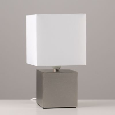 Cube Design Touch Table Lamp, Brushed Chrome & White