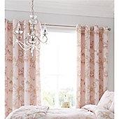 Catherine Lansfield Chrysanthemum Check Blush 66x72 Inch Eyelet Curtains