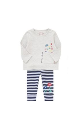 F&F Over The Rainbow Slogan Top and Striped Leggings Set Grey/Blue 0-1 months