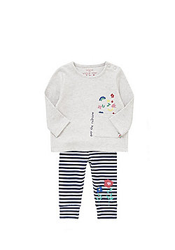 F&F Over The Rainbow Slogan Top and Striped Leggings Set - Grey & Blue