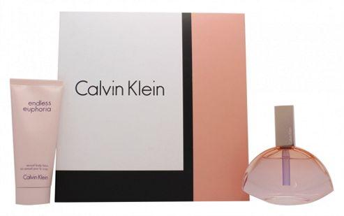Calvin Klein Endless Euphoria Gift Set 75ml EDP Spray + 100ml Body Lotion For Women