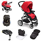 Mee-go Pramette Travel System With Isofix Base - Red