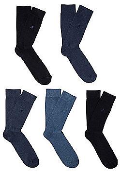 F&F 5 Pair Pack of Bird Emblem Fresh Feel Socks - Blue