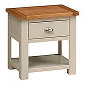 Padstow 1 Drawer Lamp Table - Stone Grey Finish