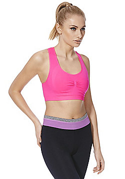 F&F Active Minimal Seam Low Impact Sports Crop Top - Neon pink