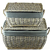 Hamper Wicker Basket Set x 2 - Grey Wicker